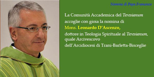 Mons. Leonardo D'Ascenzo, dottorato al Teresianum, nominato Arcivescovo