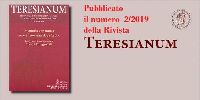 """Pubblicato il numero 2/2019 della rivista """"Teresianum"""""""