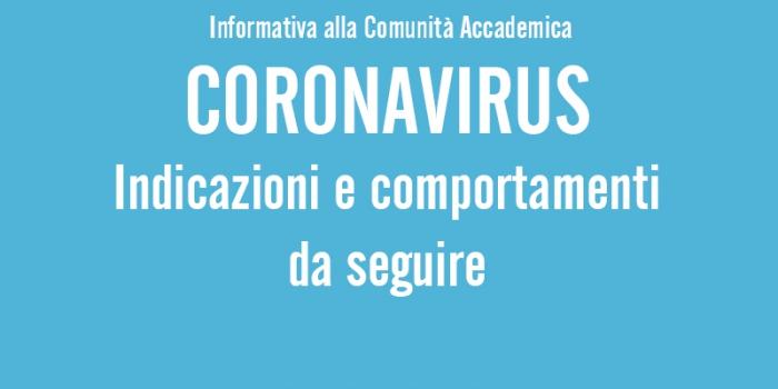 Coronavirus (COVID-19) – Informativa alla Comunità accademica