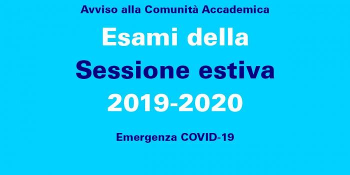 Esami della Sessione estiva 2019-2020